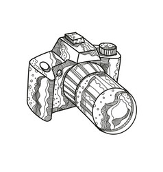 Dslr camera doodle art vector