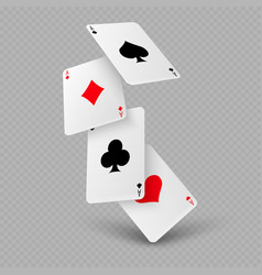 Falling poker playing cards aces vector