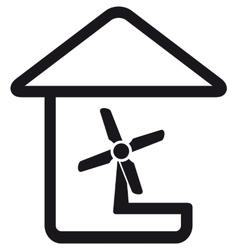 Fan in home silhouette vector