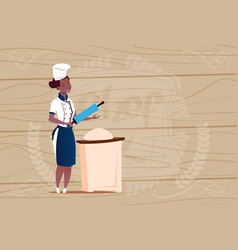 Female african american chef cook working vector