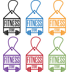 Fitness store tags with barbells set vector