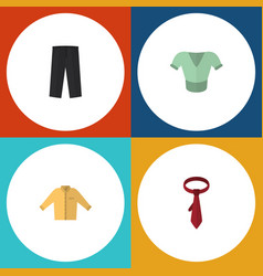 Flat icon garment set of cravat banyan casual vector