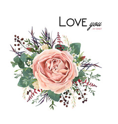 floral bouquet with rose flower leaves herbs vector image