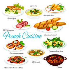 French cuisine meat vegetable meals vector