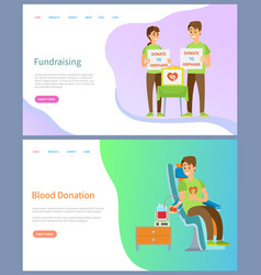 fundraising and blood donation volunteers work vector image