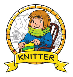 Funny knitter women inthe chair emblem vector