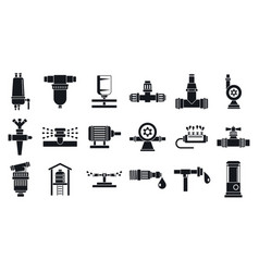 Garden irrigation system icon set simple style vector