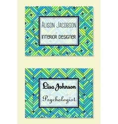 Geometric business cards vector image