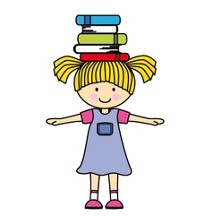 girl playing with books vector image
