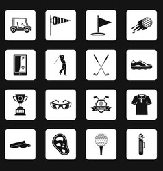 Golf items icons set squares vector