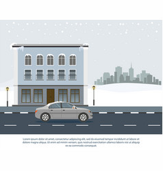 gray car drive in the road wintertime vector image
