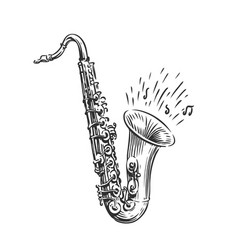 Hand drawn sketch saxophone isolated art vector
