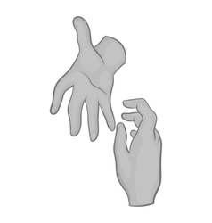 Hand reaches out to other hand icon vector image
