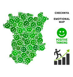 Happiness chechnya map collage of smiles vector