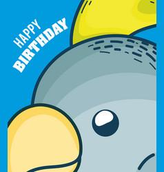 happy birthday to you parakeet cartoon vector image
