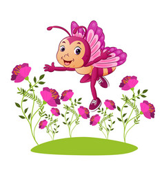 Happy fairy butterfly is flying vector