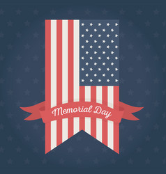 happy memorial day vertical flag ribbon stars vector image