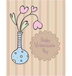 Happy Valentines Day design Vase with hearts vector image
