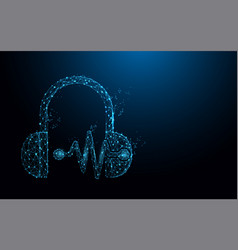 headphone and sound waves form lines and particle vector image