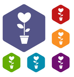 Heart flower in a pot icons set hexagon vector