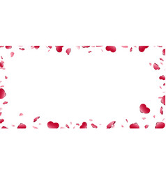 heart frame isolated white background red hearts vector image