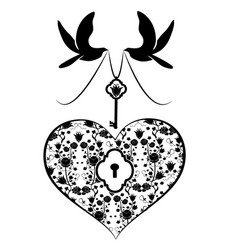 heart with key and doves vector image