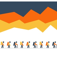 Hiking and traking team in the mountains walking vector image