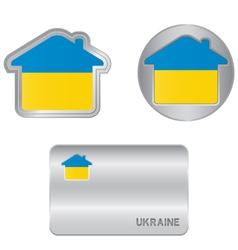 home icon on ukraine flag vector image