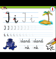 How to write letter i workbook for children vector