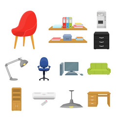 Interior of the workplace cartoon icons in set vector