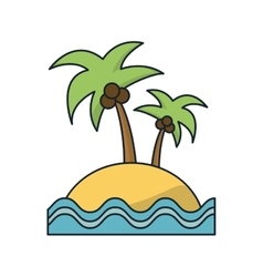 Isolated palm tree beach and sea design vector image