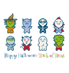 Kids in halloween monsters costumes vector