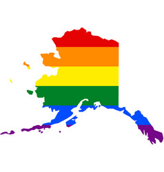 Lgbt flag map of alaska vector