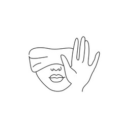 line drawing art blindfolded woman with hand vector image