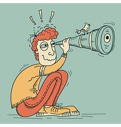 Looking through a telescope young man vector