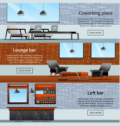 Lounge loft banners collection vector