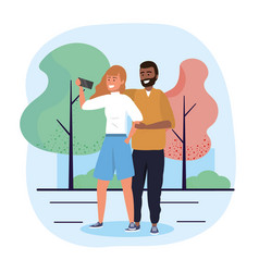 Man and woman couple with selfie technology vector