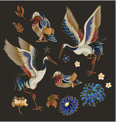 Mandarin ducks flowers and cranes isolated vector