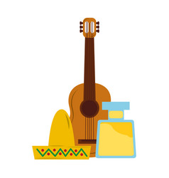 mexican hat guitar and bottle tequila vector image