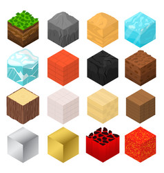 Mine cubes signs 3d icon set isometric view vector