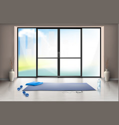 Mockup of empty gym hall with glass door vector