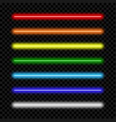 neon light tube set colorful neon lamp vector image
