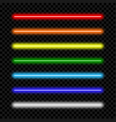 Neon light tube set of colorful lamp vector