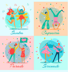 Parade people flat icon set vector