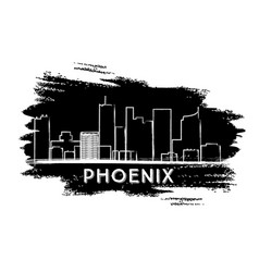 Phoenix skyline silhouette hand drawn sketch vector