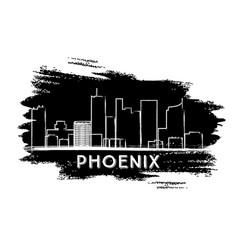 phoenix skyline silhouette hand drawn sketch vector image