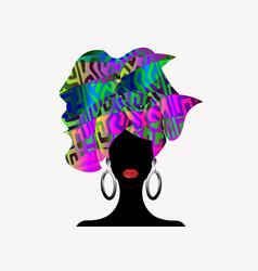 portrait beautiful african woman in turban vector image