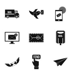 Postal icons set simple style vector