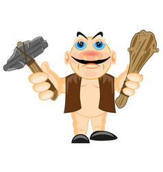 primitive person with stone gavel and bat vector image