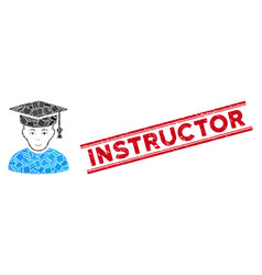 Professor mosaic and grunge instructor stamp seal vector